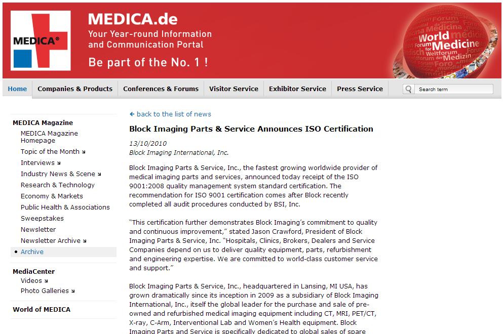 Block Imaging Parts & Service Announces ISO Certification
