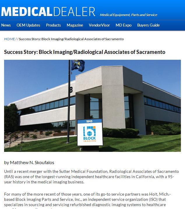 Success Story: Block Imaging Parts & Service and Radiological Associates of Sacramento