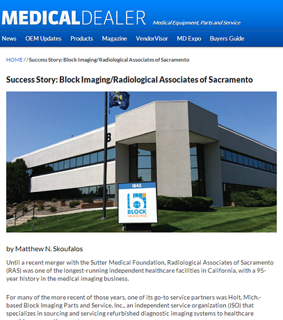 Success Story: Block Imaging Parts & Service and Radiological Associates of Sacramento